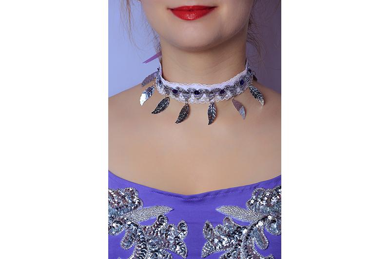 collier bijou choker fait main mauve argent accessoire made in france cadeau souvenir