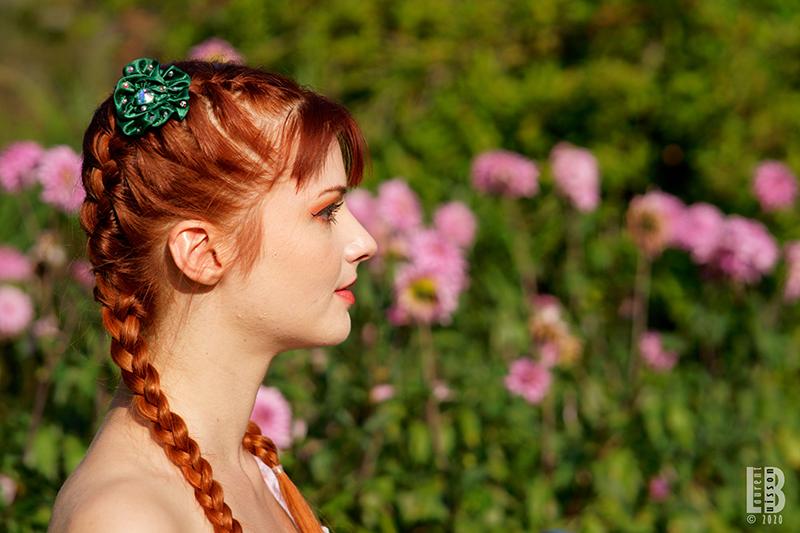 accessoire cheveux vert fleur made in france fait main barrette