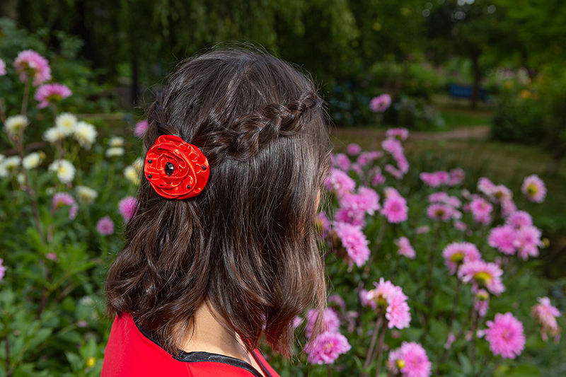 accessoire cheveux fleur barrette made in france rouge coiffure