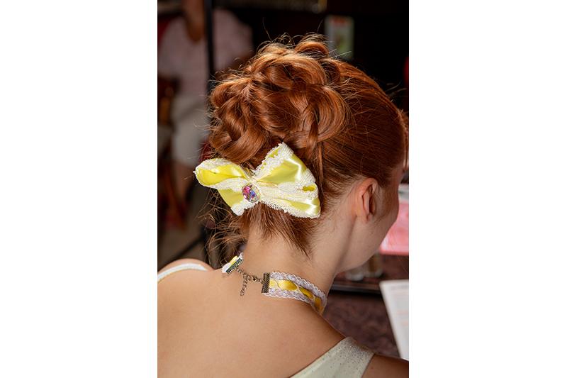 accessoire cheveux noeud jaune barrette made in france bijou de tete fait main
