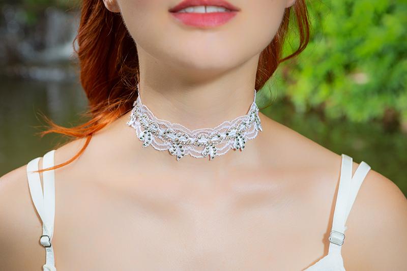 collier choker bijou made in france fait main blanc dentelle