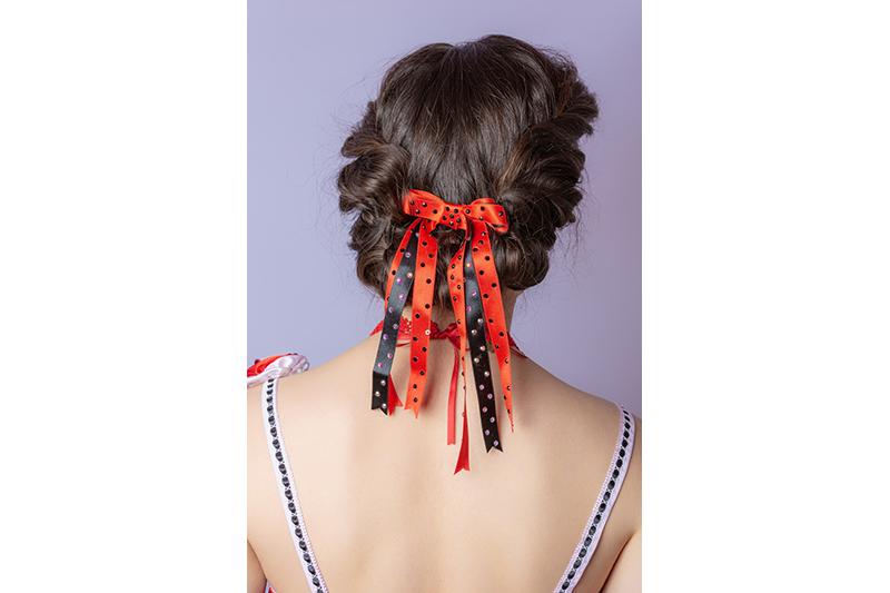 triple noeud fait main satin noir rouge strass swarovski accessoire coiffure barrette cheveux made in france haute couture cadeau souvenir mode femme