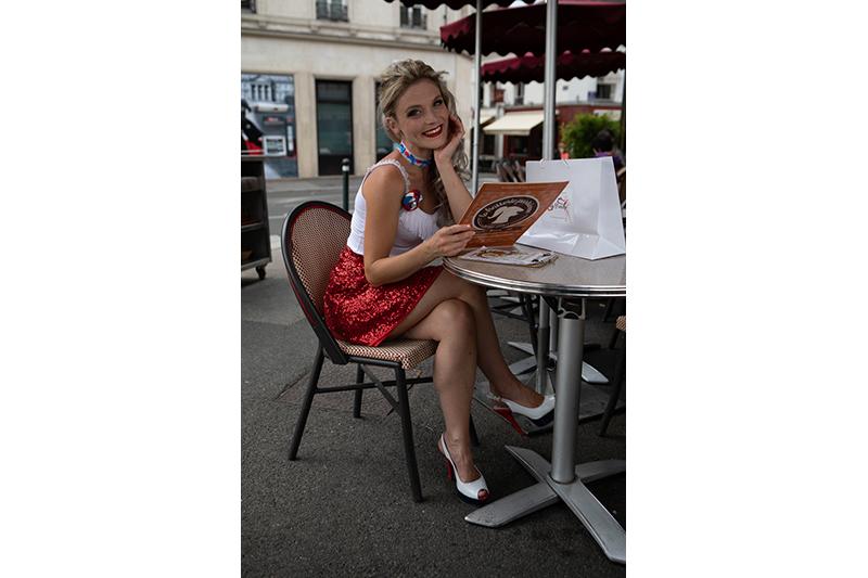 jupe made in france pret a porter femme mode tendance sequins rouges
