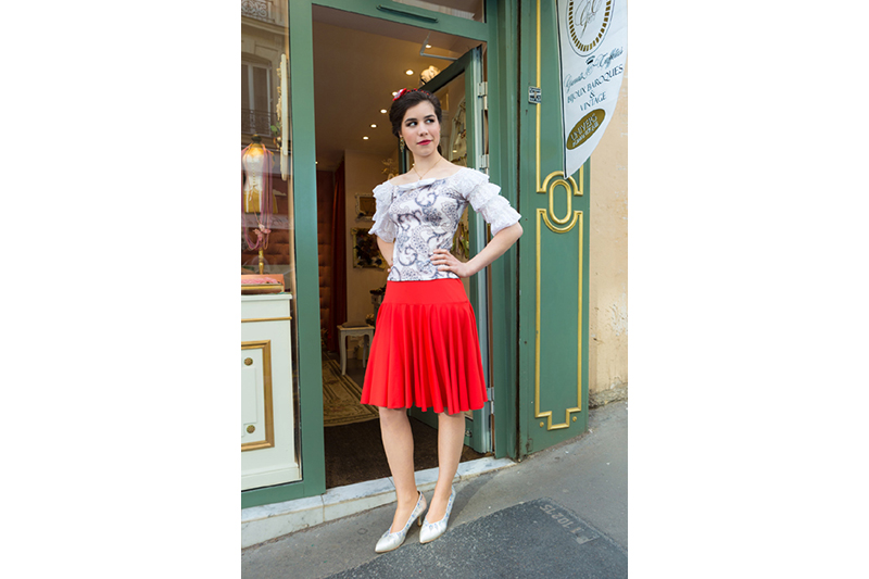 jupe maille rouge evasee godets made in france pret a porter luxe danse