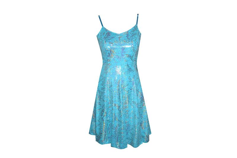 robe-made-in-france-lycra-turquoise-lame-argent-danse-bretelles-evasee