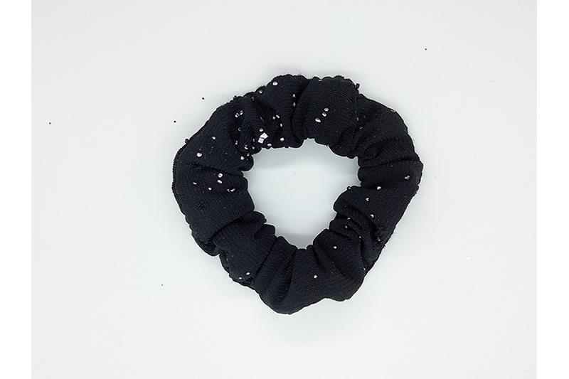 chouchou cheveux scrunchie made in france accessoire coiffure noir argent