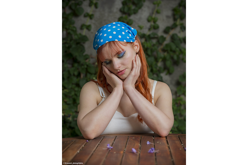 bandeau headband accessoire cheveux fait main made in france turquoise pois blancs
