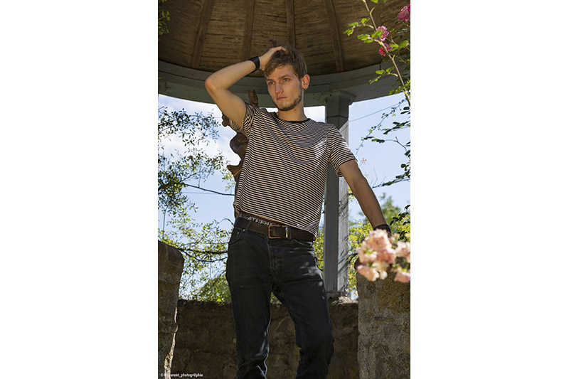 tee-shirt homme mode rayures noires et blanches mariniere made in france