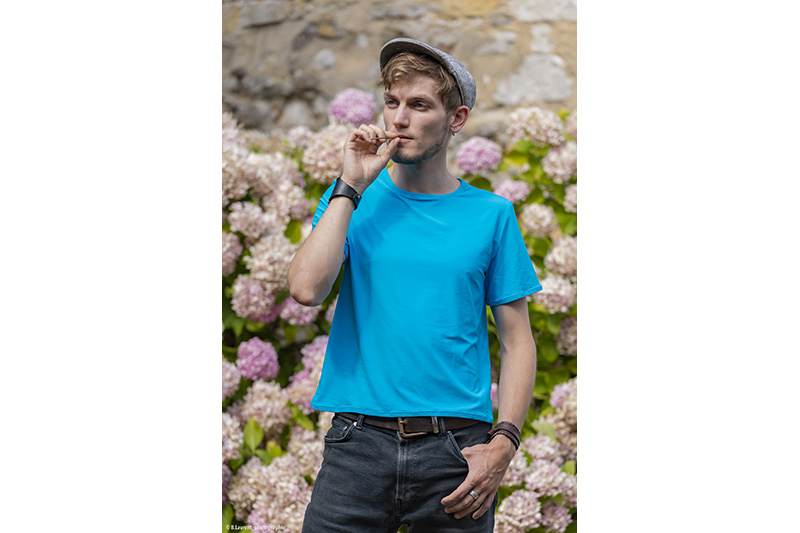 tee-shirt pour homme t-shirt bleu turquoise uni made in france