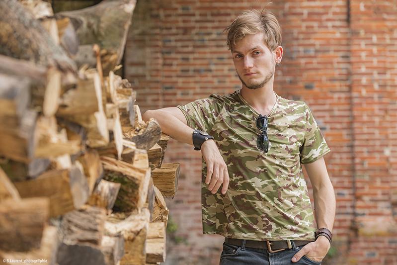 tee-shirt homme treillis made in france entretien facile infroissable fait main kaki militaire