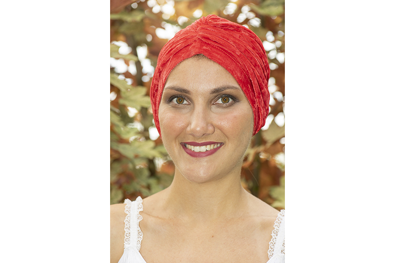 turban femme chimio cancer velours rouge chimio made in france
