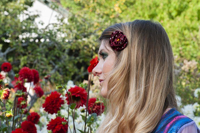 accessoire cheveux fleur bordeaux barrette made in france bijou de tete