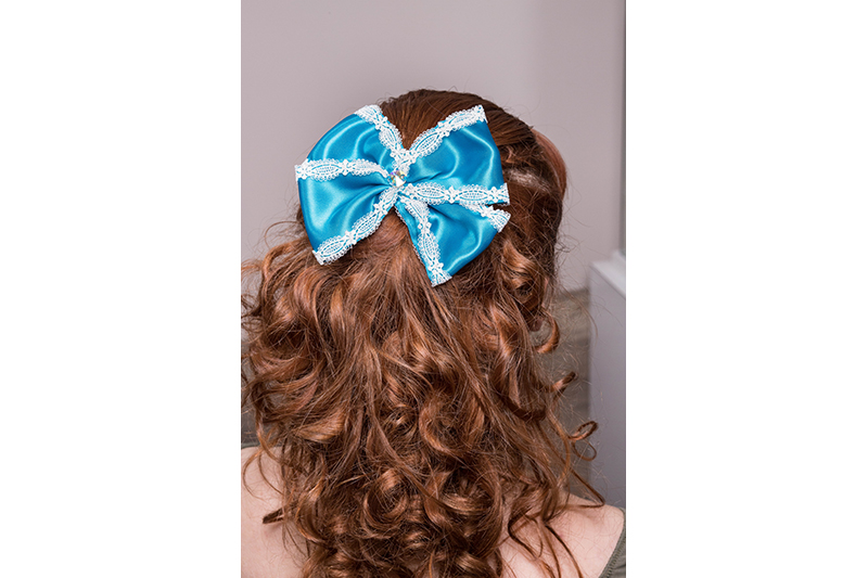 accessoire cheveux barrette turquoise noeud made in france fait main