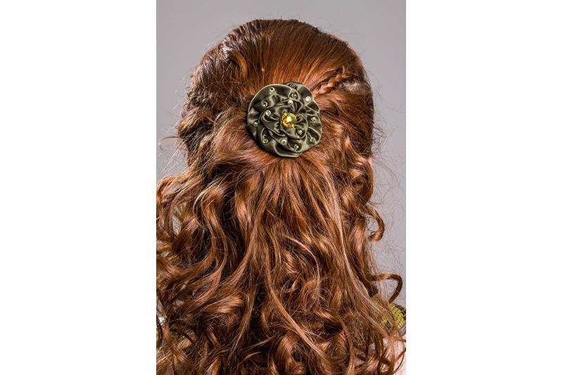 accessoire cheveux made in france satin kaki strass or barrette bijou de tete noel fetes fin annee reveillon
