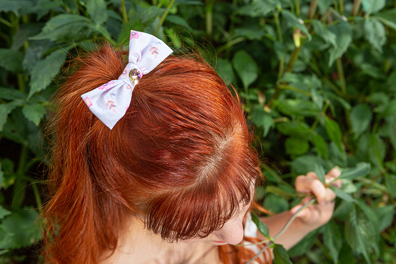 Hair accessory handmade cotton bow printed flowers and butterflies – Barrette Made in France