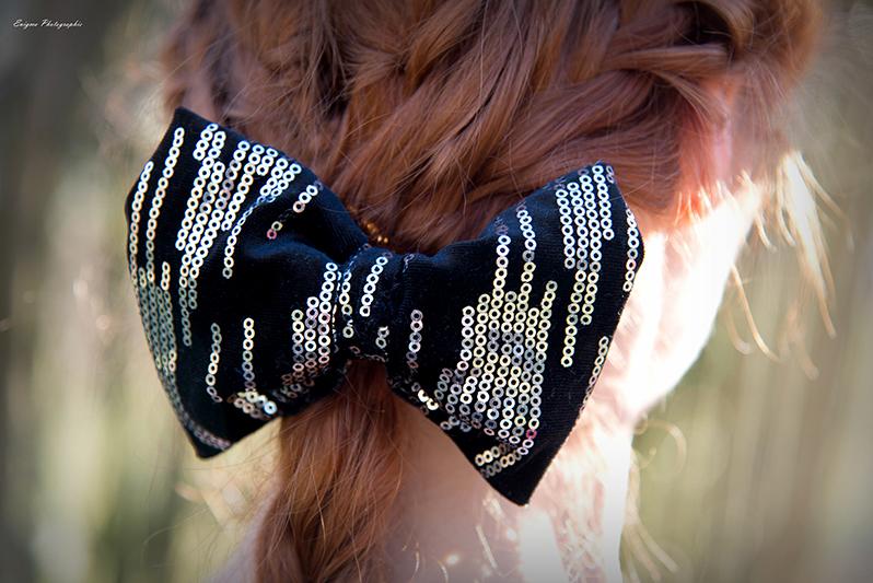accessoire cheveux made in france noeud noir velours sequins argentes barrette bijou de tete made in france