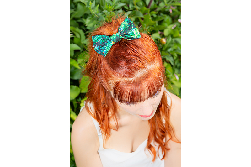 accessoire cheveux vert noeud coiffure made in france fait main handmade