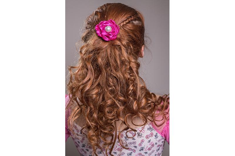 accessoire cheveux made in france barrette fleur fuchsia bijou de tete