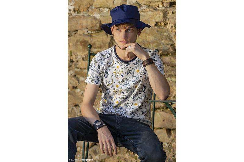 chapeau de soleil Made in France fait main uni bleu marine