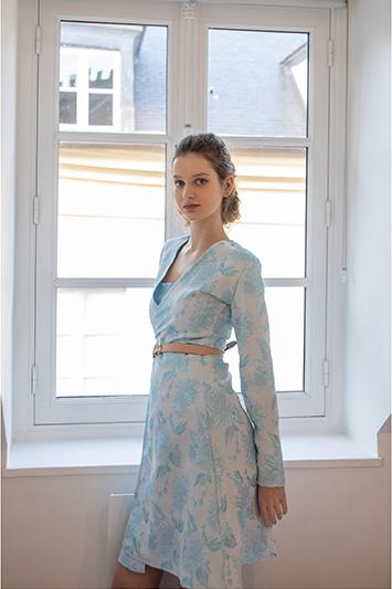 robe bleu ciel bleue femme made in france