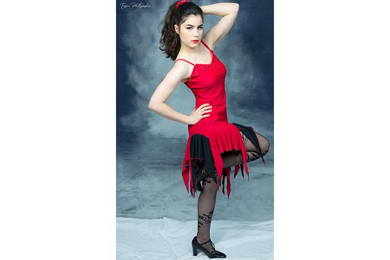 robe tango argentin danse latine rouge et noir made in france