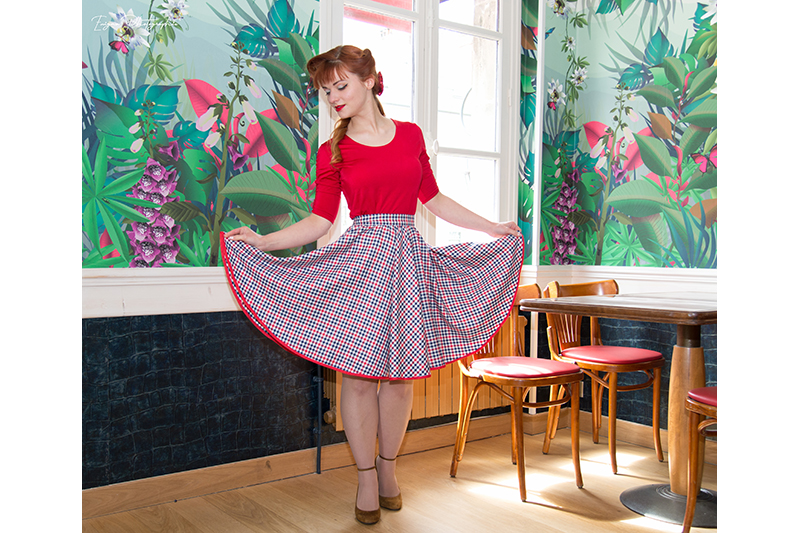 jupe vintage carreaux pin up made in france