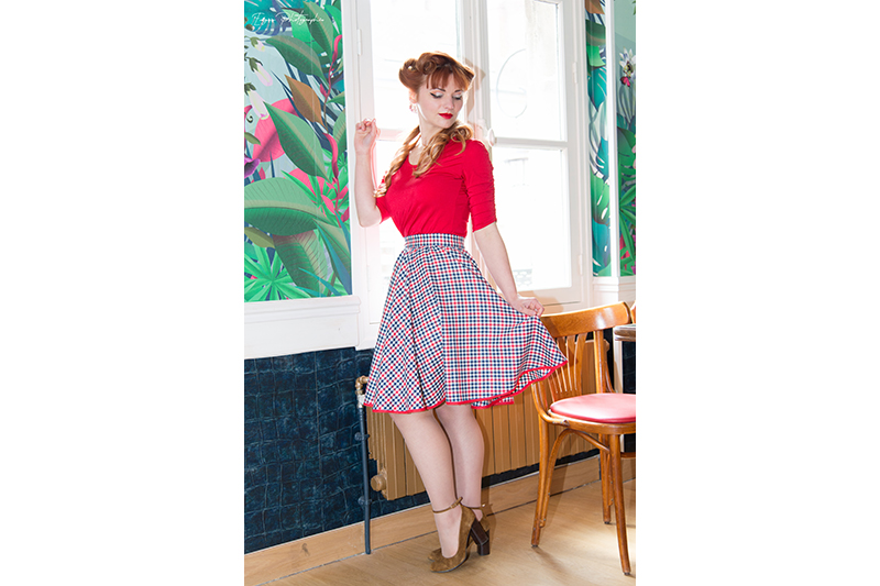 jupe vintage made in france carreaux pin up
