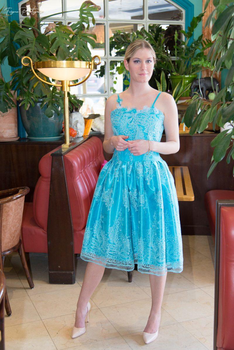 robe cocktail turquoise made in france