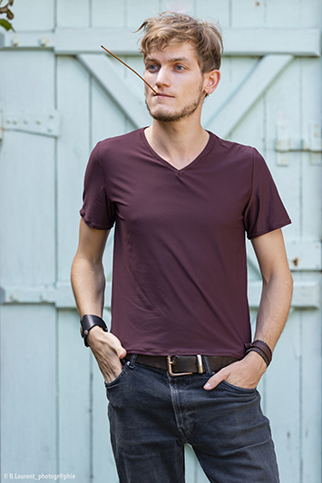 tee-shirt homme marron made in france