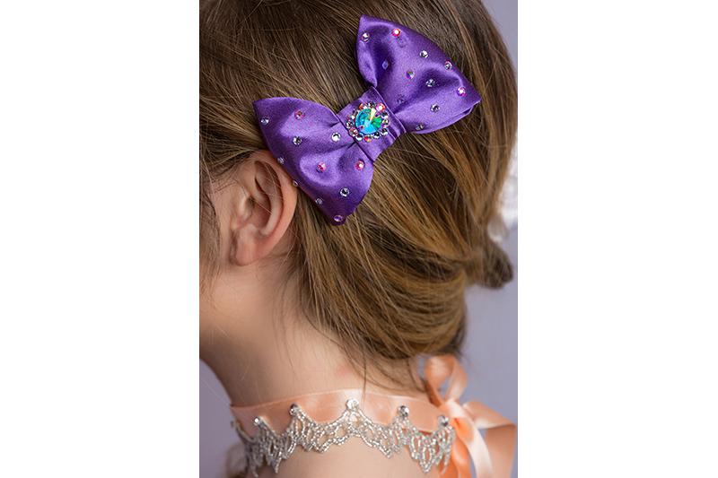 noeud baroque fait main satin violet strass swarovski accessoire made in france cadeau souvenir
