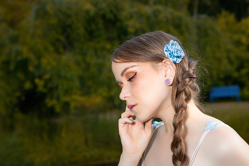 accessoire cheveux barrette made in france bijou de cheveux turquoise fleur fait main handmade
