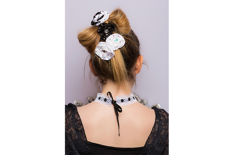 accessoire coiffure fait main barrette satin blanc noir made in france