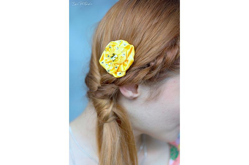 accessoire cheveux jaune mode fleur made in france fait main