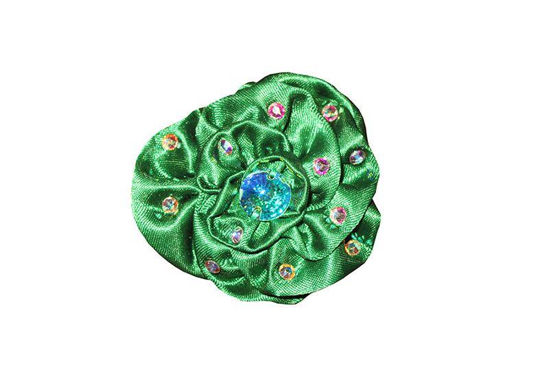 accessoire coiffure fleur cheveux rose made in france satin vert strass swarovski artisanat français cadeau souvenir