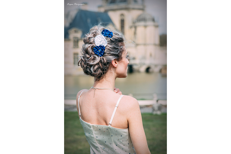 fleur cheveux made in france satin strass barrette coiffure fait main