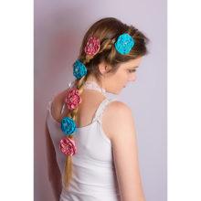 accessoire coiffure haute couture fleur cheveux turquoise barrette made in france fait main