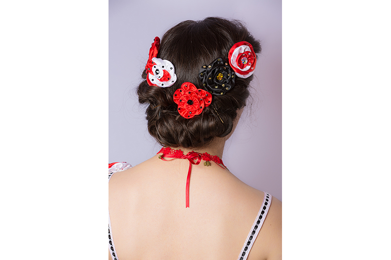 accessoire cheveux fleurs coiffure haute couture made in france fait main mode luxe roses barrette