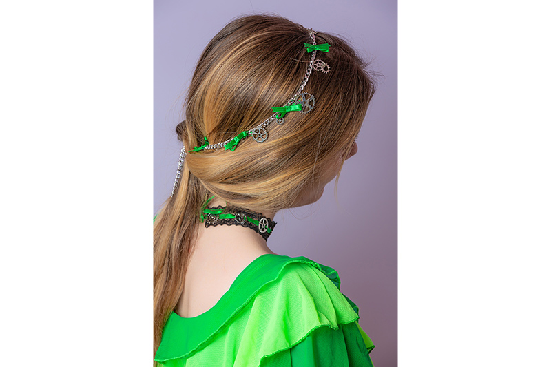 headband artisanal made in france chaines argent noeuds verts serre tete fait main steampunk