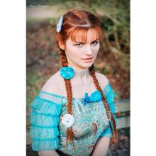 accessoire cheveux mode barrette turquoise bijou de tete made in france satin coiffure