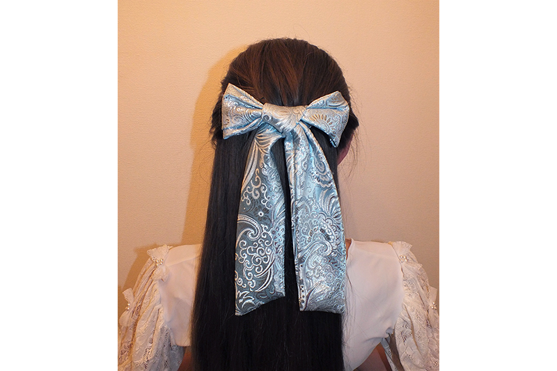 noeud pour les cheveux made in france bleu turquoise