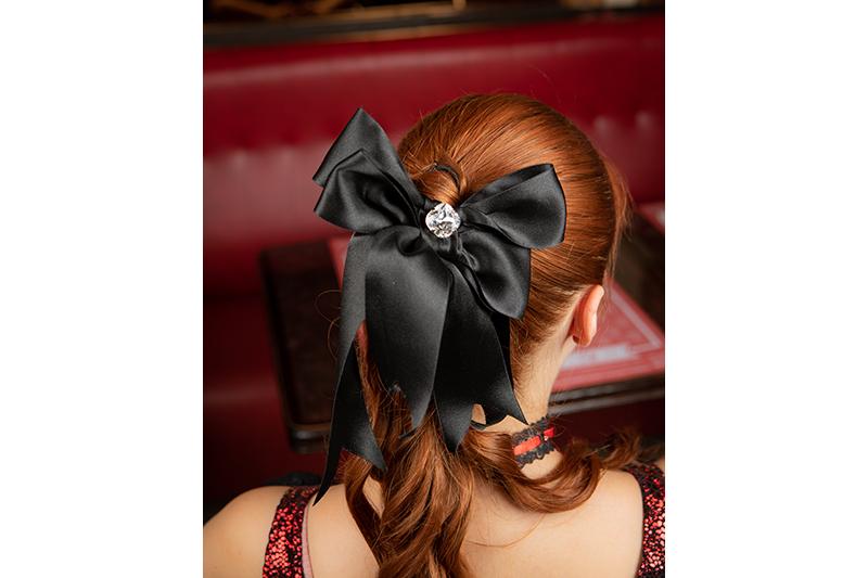 accessoire cheveux made in france noeud noir barrette coiffure bijou de tete fait main handmade artisanal