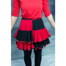 jupe femme harley quinn made in france rouge et noir cosplay