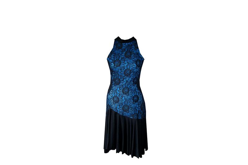 robe bleu noir made in france dentelle jupon volant strass danse pret a porter luxse femme