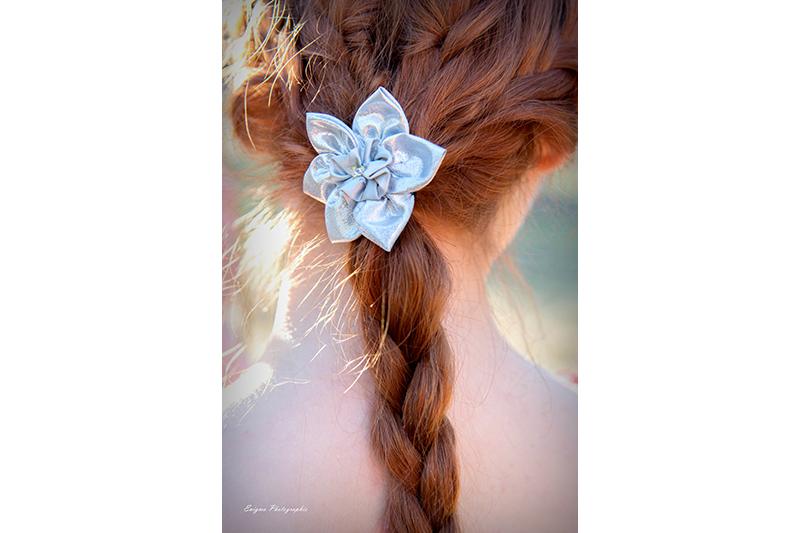 accessoire cheveux barrette bijou de tete made in france argente narcisse fait main