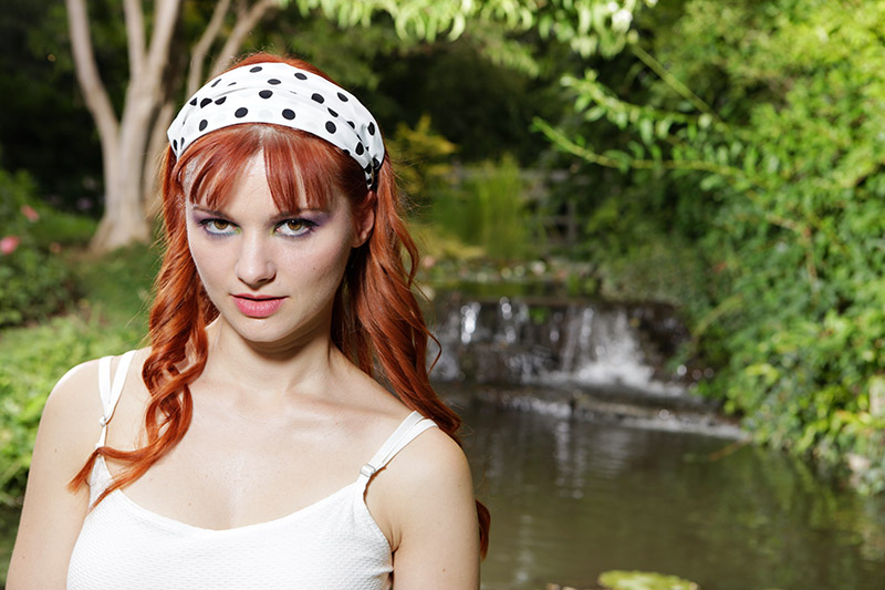headband bandeau pour attacher son masque et ses cheveux blanc pois noirs made in france fait main artisanat