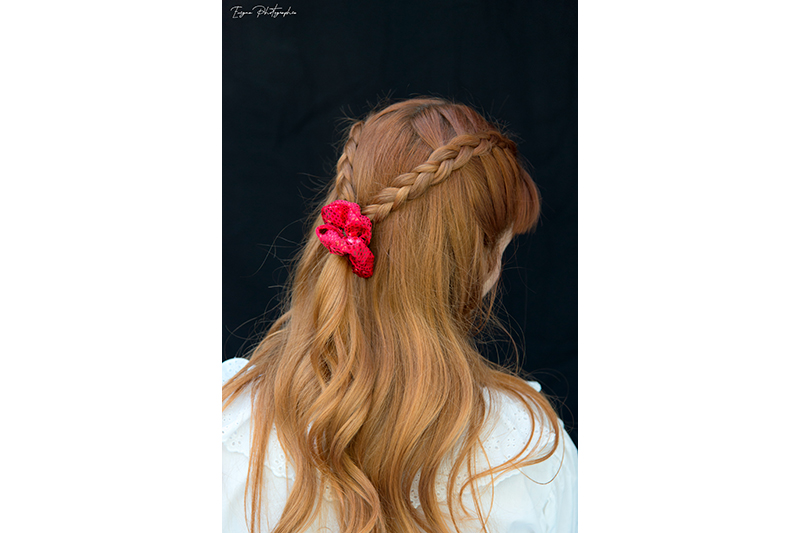 chouchou cheveux serpent rouge scrunchie made in france