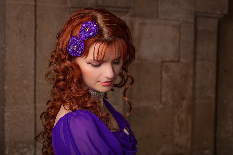 bijou de tete headband chaines strass fleurs satin violet fait main Haute Couture précieux Made in France fait main