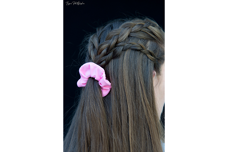 scrunchie rose chouchou cheveux made in france
