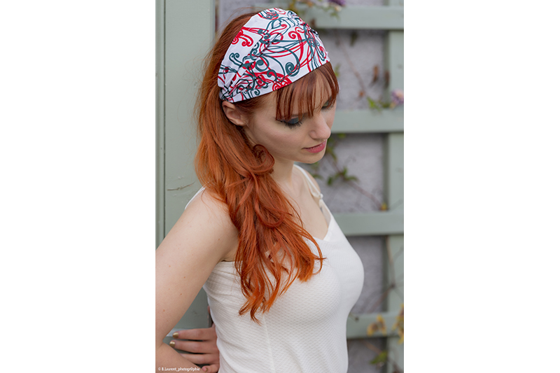 accessoire cheveux coiffure made in france bandeau headband blanc arabesques