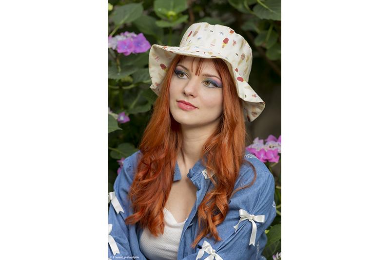 chapeau de soleil coton bio imprime vacances bob plage made in france fait main artisanat artisanal campagne montagne jardin promenade